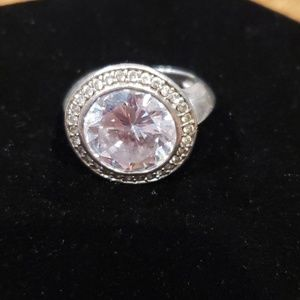 Sterling and crystal cocktail ring